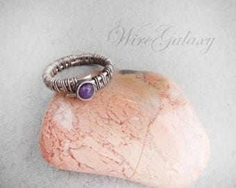 Ring Amethyst Wire wrapped Jewelry Gift for her Wire ring Romantic gift Gemstone jewelry OOAK ring Boho ring