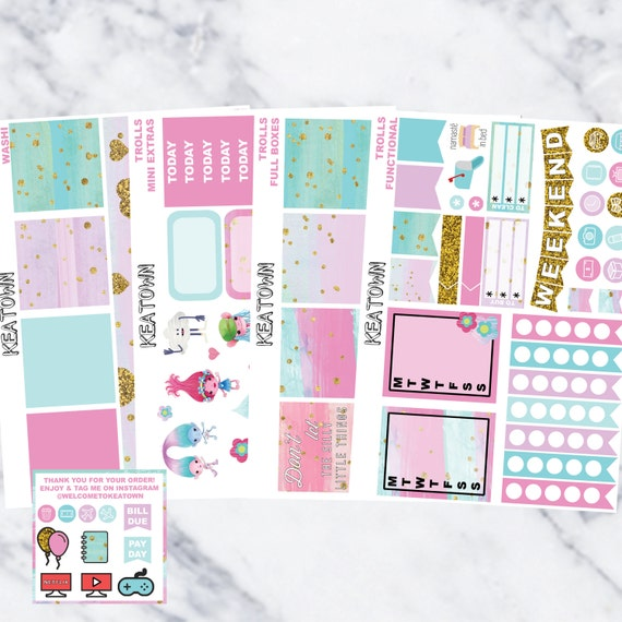 Trolls Daily Life Planner Stickers