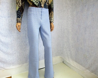 "70s 32"" x 35"" Mens Cotton Acrylic Bell Bottom Pants Light Blue White WeirdoWear"