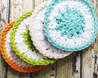 Crochet Facial Scrubbies - 100% cotton scrub pads, wedding gift, gifts for mom, reusable face scrubbies, makeup remover pads, wash cloths