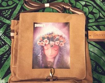 Corn Moon Spirit Green Witch canvas messenger bag