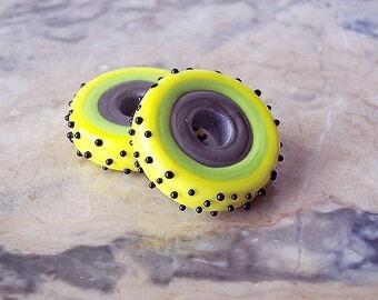 Handmade Lampwork Glass Disk (2 pcs) Grey, Green, Yellow, Black. Lampwork Connectors. Large Hole Lampwork Beads. European Style Charm Beads.