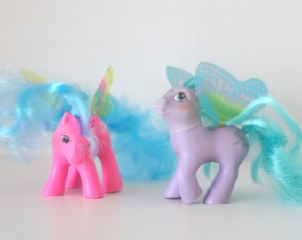 My Little Pony G1 Summer Wing - Skydancer and High Flyer - Lot of 2 Pegasus Ponies Pink and Purple Flutter Butterfly Baby Tiny Pony