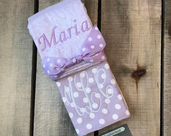 Burp Cloth set of 2 with custom monogram baby girl acender polka dots lavender paisley girly monogrammed burp cloths