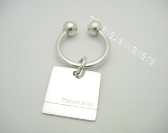 Tiffany & Co. Sterling Silver 200 Fifth Avenue Rectangular Two Ball Key Ring