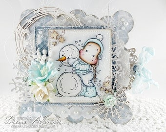 OOAK Handmade Magnolia Card - Me And My Snowman