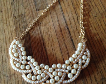SALE - Large white PEARL statement necklace in gold plated setting