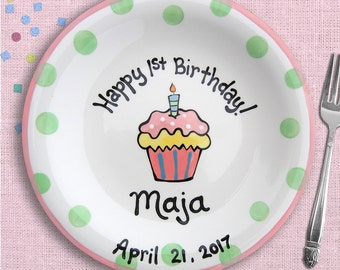 Baby's First Birthday - Personalized Baby Plate - Baby's 1st Birthday - Baby's First Year Gift for Baby's First Birthday - 1 year Baby Girl