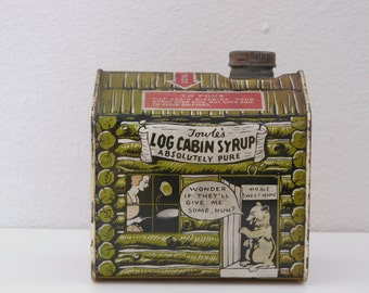 1920's Towle's Log Cabin Syrup Maple Syrup Tin Bear in Doorway Cartoon sides Log Cabin Syrup Advertising Tin Maple Syrup General Foods