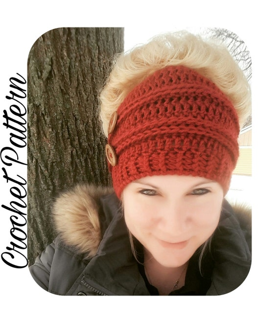 Crochet Patterns Messy Bun Beanie : Crochet Pattern Messy Bun Beanie Crochet Pattern Bun Hat Top Knot ...