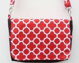 Black and Red Messenger Bag, Canvas Messenger Bag,  Cross Body Bag, ShoulderBag, Every Day Bag, Black Canvas Bag, Red Bag, Nappy Bag