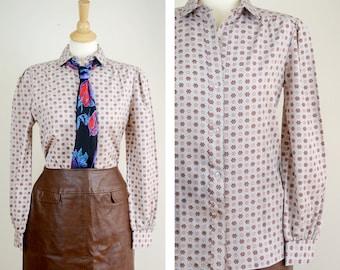 70s Button Up Shirt, Secretary Shirt, Pins and Needles, Size 10, Medium, Polyester Shirt, Floral Blouse, Office Attire, Pattern Shirt