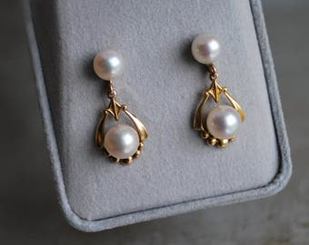 Vintage Mid Century 14K Gold Cultured Pearl Drop Earrings