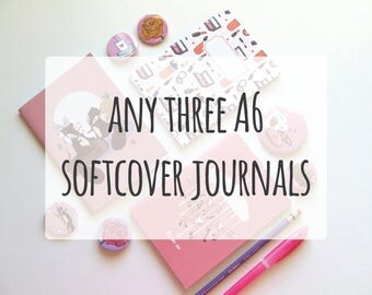 Any three A6 Notebooks - Pick and mix - Choose your own - pack of 3 pocket size Softcover Journals