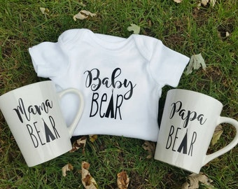 Mama bear, papa bear, and baby bear gift set. Baby shower gift, new baby gift, mug set