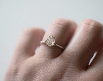 Alternative Diamond Engagement Ring Raw Diamond Ring Rough Uncut Diamond Ring Modern Jewelry Sterling Silver Engagement Ring, Size 8, Avello