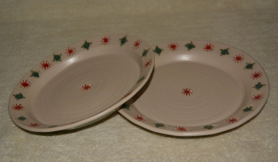 Plates, Set of Two, Southwestern, Red, Jade, Off White, Stoneware, Ceramic, Serving Platters, Sun,