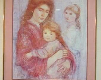 """Vintage Edna Hibel """"Mother & Children"""" Lithographic Poster Art Print"""