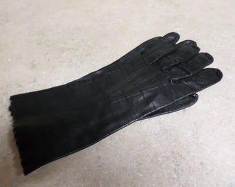 Ladies Black Leather Gloves Size 7