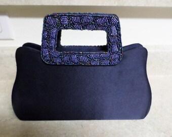 Vintage Navy Blue Satin & Beaded Handbag