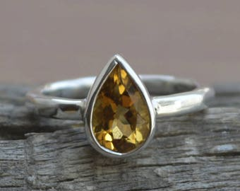 Citrine Gemstone Ring, Pear Cut Citrine Ring, 925 Sterling Silver Ring, Solitaire Citrine Ring Ring, Birthstone Ring, Bezel Set Ring Jewelry