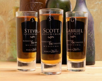 Shot Glasses Wedding, Set of 4, Black Personalized Groomsmen Gifts