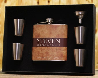 Liquor Flasks, Set of 7, Personalized Gifts for Groomsmen, Best Man Gift, Brown