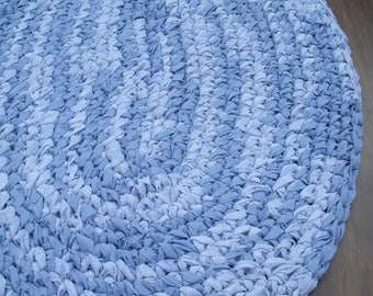 "36""x24"" Purple-Blue, Hand Crocheted, Oval Rag Rug, Bedroom Rug, Braided Rug, Nursery Rug, Crochet Rug, Kitchen Rug, Bathroom Rug,Laundry Rug"