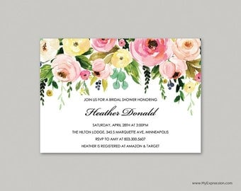 Watercolor Floral Bridal Shower Invitation (9087) - INSTANT DOWNLOAD Template  - Ready to Print - Editable PDF