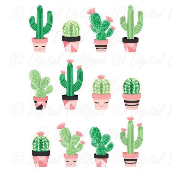 Cute Cactus Clipart Potted Clip Art Desert Cactus