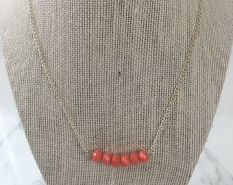 Coral Beaded Bar Necklace