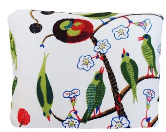 SALE Josef Frank Fabric Cushion Cover Now 19.99 Pounds  Was 29.99 Green Birds  Fabric 16x12""
