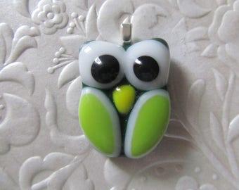 "Fused Owl Pendant - Green Owl Jewelry - Glass Owl Pendant - Green - Measures 1"" x 1.25"""