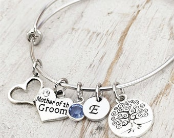 In Law Bracelet - Mother Of The Groom Bracelet - Mother Of The Bride Bracelet - Wedding Party Gifts - Silver Bracelet - Family Tree Bracelet