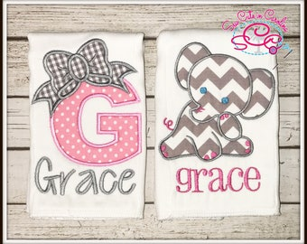 Personalized Elephant and Monogrammed Burp Cloths Set