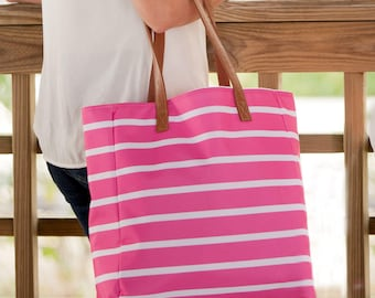 Monogrammed Tote-Beach Bag-Pink Stripe Boat Tote-Pink Tote-Pink Stripe-Striped Tote-Beach Bag-Summer Tote-Vacation-Monogrammed Gifts