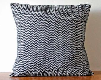 Modern Pillow, Throw Pillow, Black and White Woven Pillow, Accent Pillow, Handwoven Zig Zag Pattern, Decorative Pillow , 16x16 Pillow Cover