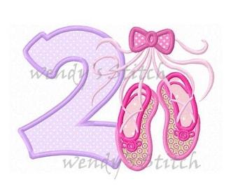 ballerina ballet applique birthday number 2 machine embroidery design ballet shoes slippers