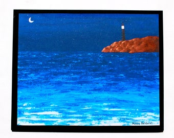 Nighttime Moonlit Lighthouse Seascape Print