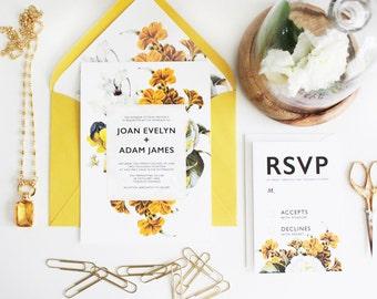 Yellow Floral Wedding Invitation set // DIY Printable wedding invitations. Garden wedding. Yellow Modern Wedding Invitations. Vintage invite