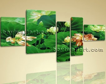 Extra Large Water Lily Pond Print Abstract Home Decor Bedroom Pentaptych Pieces, Extra Large Water Lily Wall Art, Bedroom, San Felix