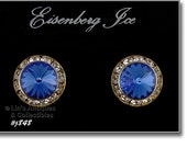 Eisenberg Ice Pierced Earrings Blue and Clear Prong Set Rhinestones   (Inventory #J848)