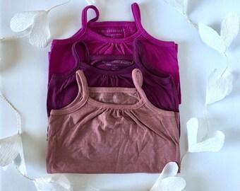 Berry Set | 3 12-month toddler organic tank set | mauve mist rose plum | hand-dyed lilac pink purple | organic baby t-shirt