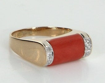 Coral Diamond Stacking Ring Vintage 14 Karat Yellow Gold Estate Fine Jewelry Heirloom