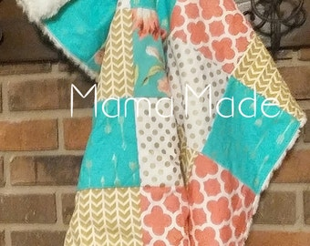 Cuddle-Up-Baby patchwork baby blanket with minky