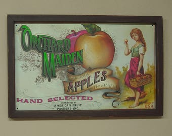 Wood Framed Tin Sign Apples, Orchard, Orchard Maiden Apples Hand Selected,  17 1/2 by 11 1/2 inches., Free Shipping