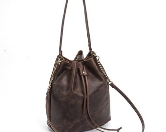 Brown leather Bucket bag, Leather bucket bag, Leather shoulder bag, Dark brown bag, Cross body bucket bag, Free Shipping!