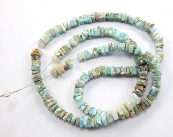 on sale AAA quality natural Larimar Square Heishi Cut Beads- Size 4-5 mm 16 inch 1 strand approx-Heishi beads