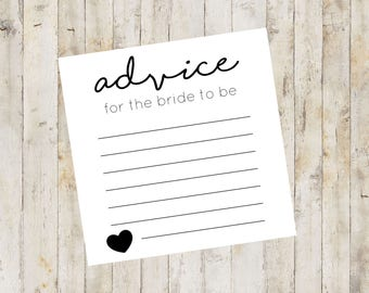 Bridal Shower Advice Cards, Advice for the Bride Cards, Bridal Advice Cards, Printable Shower Advice Cards, Instant Download File