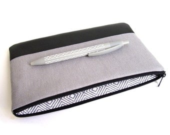 Pencil case, pencil pouch,  linen, vegan leather, gray, black